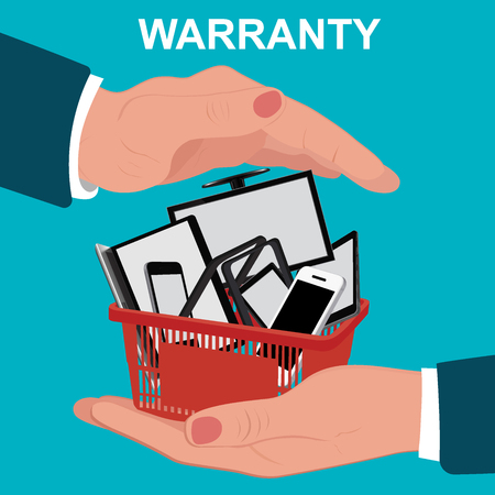 electronic warranty, flat design, vector illustration