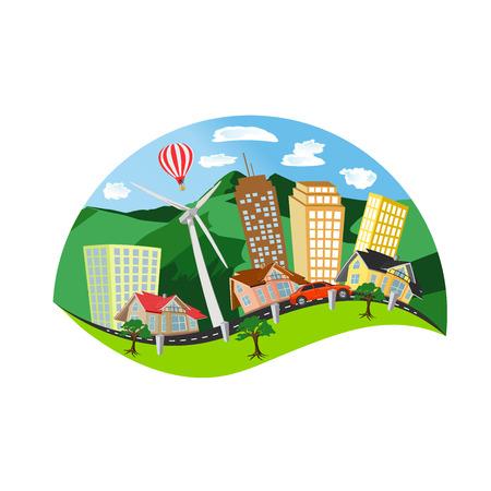 modern city concept, summer landscape, flat style vector illustration