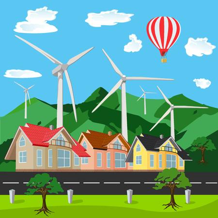 air baloon: Green environment friendly city scene, flat style, vector illustration