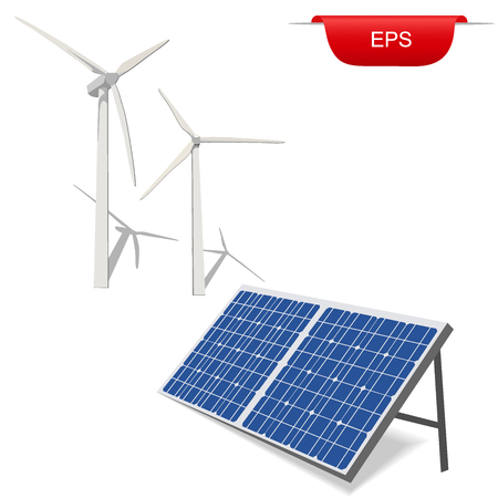 wind turbines and solar panel, vector illustration