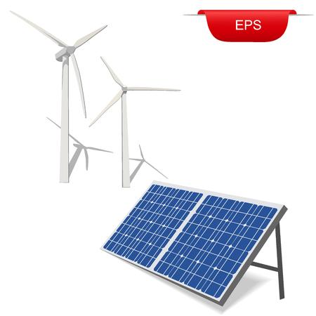 wind turbines and solar panel, vector illustration