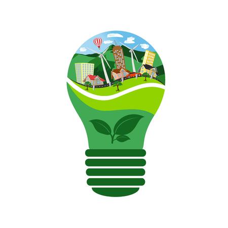 eco bulb, renewable energy concept, vector illustration