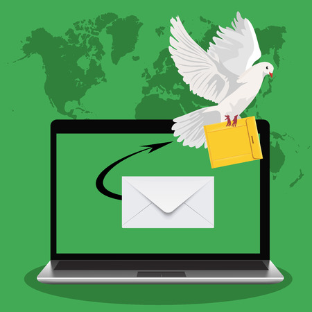 postal dove, email marketing concept, laptop, vector illustration Illustration