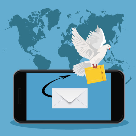 postal: postal dove, email marketing concept, vector illustration Illustration