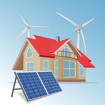 power system: wind solar hybrid power system, vector illustration