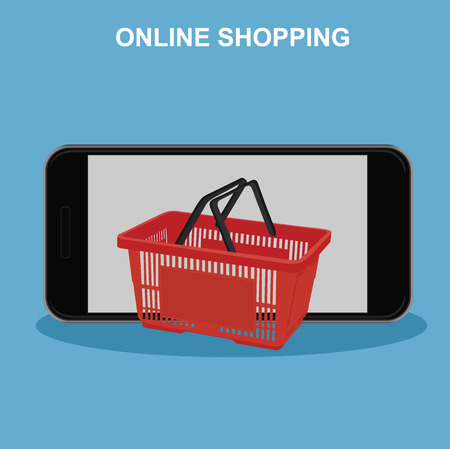 online shopping concept, cellphone and basket, vector illustration