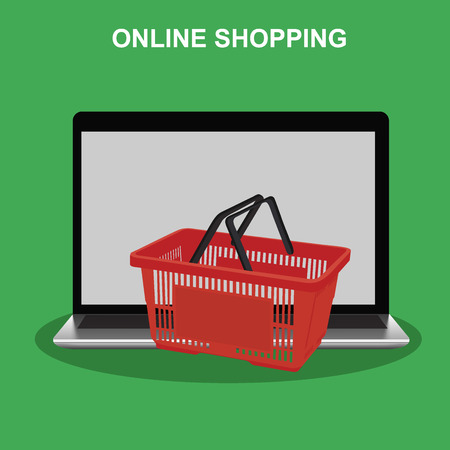 Internet online shopping concept, laptop and cart, vector illustration