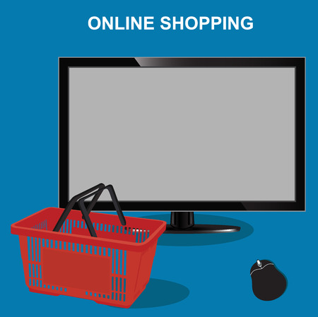 shoppingtrolley: online shopping, monitor with empty basket, vector illustration