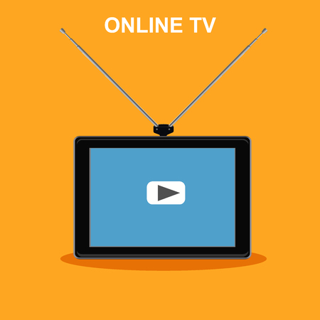 online tv, internet channels, tablet with antenna, vector illustration  イラスト・ベクター素材