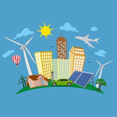green city concept, renewable energy, vector illustration