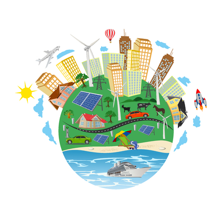 renewable energy concept, green planet, vector illustration