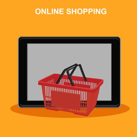 online shopping, tablet with basket, vector illustration