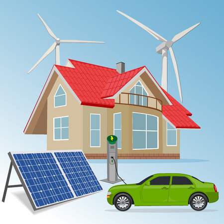 sources: house with renewable energy sources, vector illustration Illustration