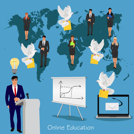 online education concept, science and education, vector illustration