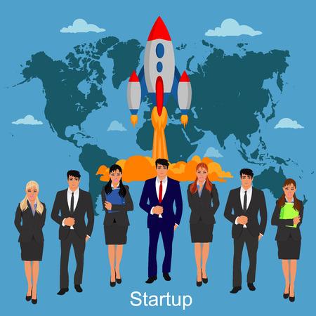 business team: startup, business team, vector illustration