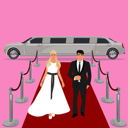 wedding, bride and groom, white limousine, flat design, vector illustration