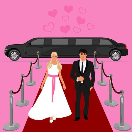 limousine: wedding, bride and groom, white limousine, flat design, vector illustration