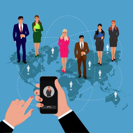 communication concept: communication, roaming concept, vector illustration