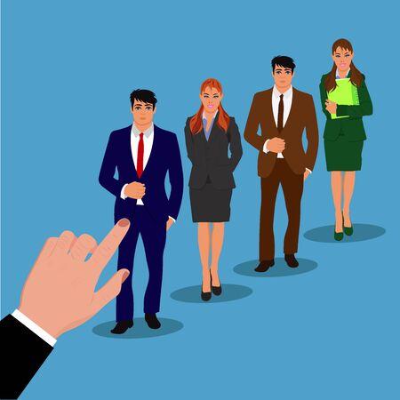 recruitment concept, interview, hand, job hunter, vector illustration Ilustrace