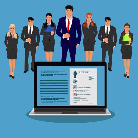 interview, job hunter, recruitment, vector illustration