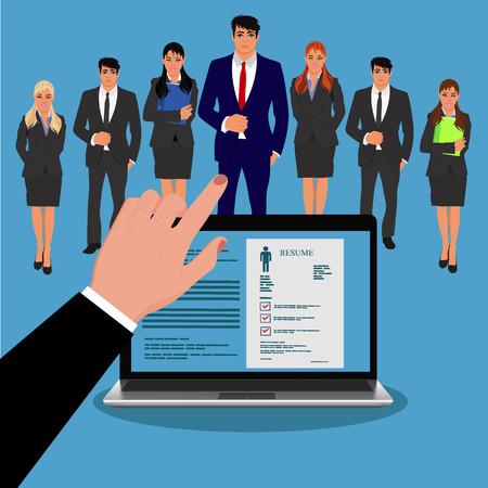 CV, jobjager, werving, vectorillustratie