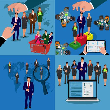 set of recruitment concepts, job hunter, vector illustration in flat design for web sites, Infographic design