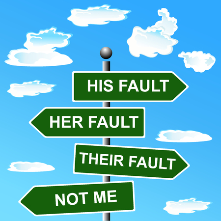 Arrow, signs, not, my, fault, shifting, blame,  illustration