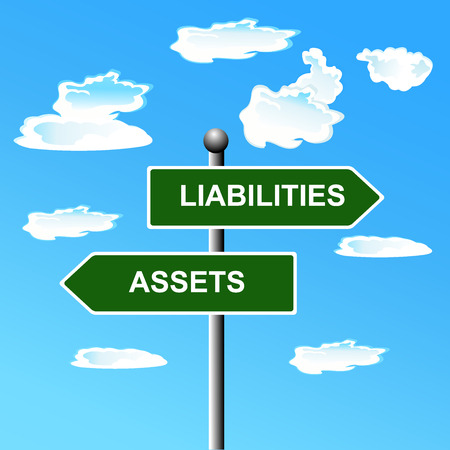 Assets, liabilities, two, way, road, street, signs, accounting, illustration
