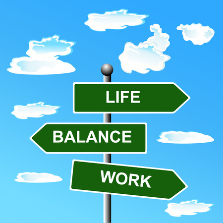 Work, life, balance, street, signs,  illustration Illustration
