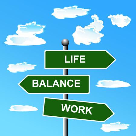 work life: Work, life, balance, street, signs,  illustration Illustration