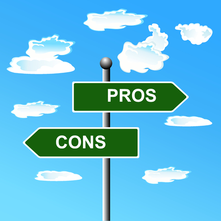comparing: Pros, cons, street, signs, comparing, options,  illustration