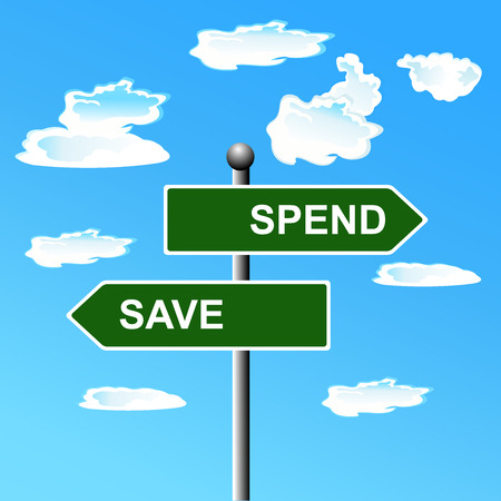 spend: Street, signs, save, spend, arrows, illustration