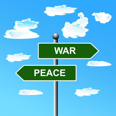 War, peace, opposite, signs.  illustration