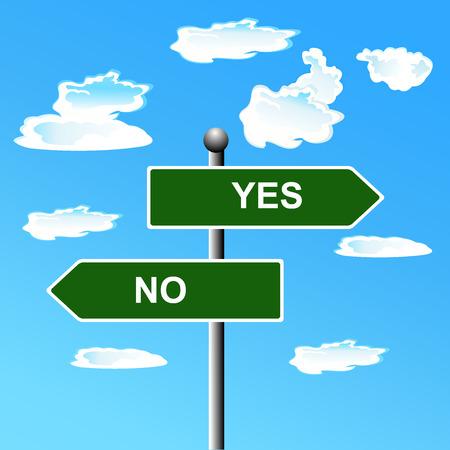 indecisive: Street, sign, yes, no,  illustration