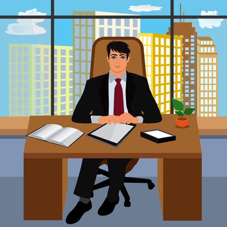 work environment: boss, work environment, director, CEO, vector illustration