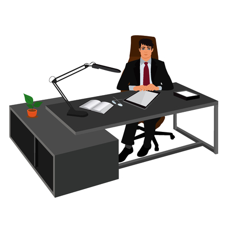 ceo: boss and his work place, director, CEO, vector illustration