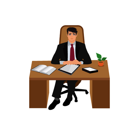 young business man: boss, director, CEO, vector illustration