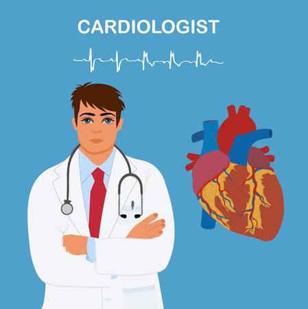 cardiological: Medical doctor cardiologist, health care, vector illustration Illustration