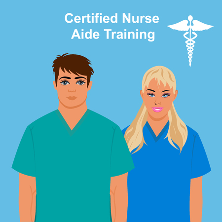 cna: Certified nurse aide training concept, vector illustration