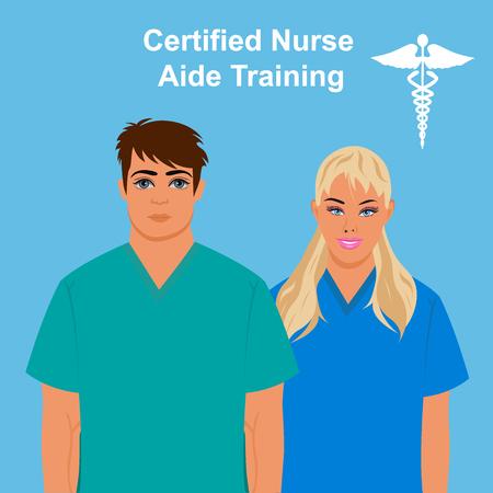 cna: enfermera certificada concepto de formación ayudante, ilustración vectorial Vectores