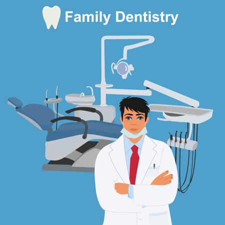 dentist, family dentistry concept, vector illustration