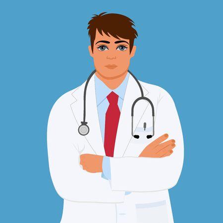 rn: physician, doctor, male, vector illustration Illustration