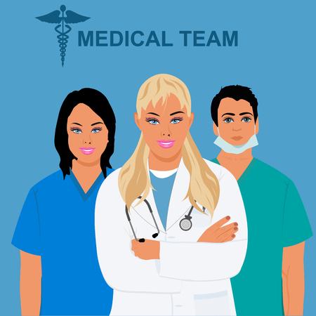 cna: personal médico, equipo, médico, doctor, ilustración vectorial
