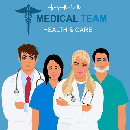 cna: equipo médico y el concepto de atención médica, ilustración vectorial