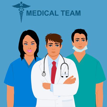 cna: concepto de equipo médico, médico, doctor, enfermera, ilustración vectorial