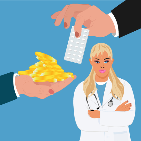drugs prescription concept, pharmacy, expensive medication, vector illustration