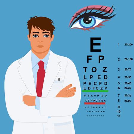 ophthalmologist: eye doctor, ophthalmologist,  illustration Illustration