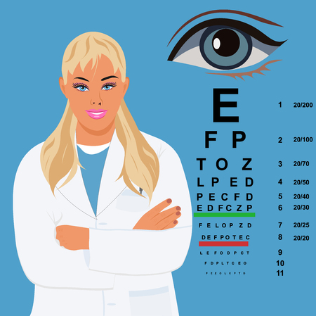 ophthalmologist: female doctor with eye chart, ophthalmologist,  illustration