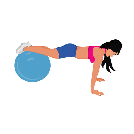 stability: fitness woman doing push ups on stability ball, sport, vector illustration Illustration