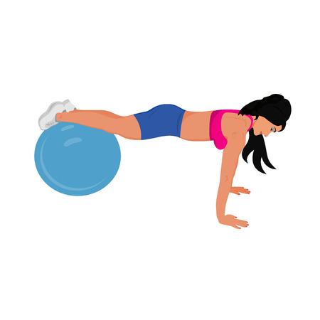 fitness woman doing push ups on stability ball, sport, vector illustration Illustration